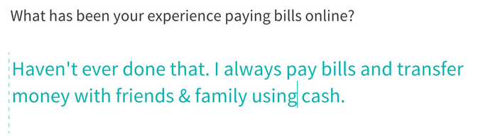 user insights - ux - paying bills online - survey