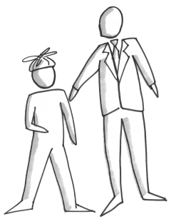 Younger person and older person, reverse mentoring