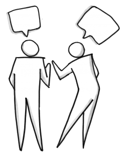 Two people talking during a customer discovery interview. The process never ends.