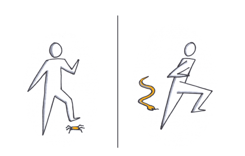 Two parts of illustration: Someone fighting a spider and someone runs away from a snake