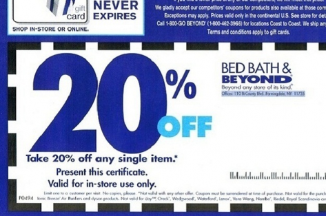 A 20%-off Bed Bath & Beyond coupon to save money.
