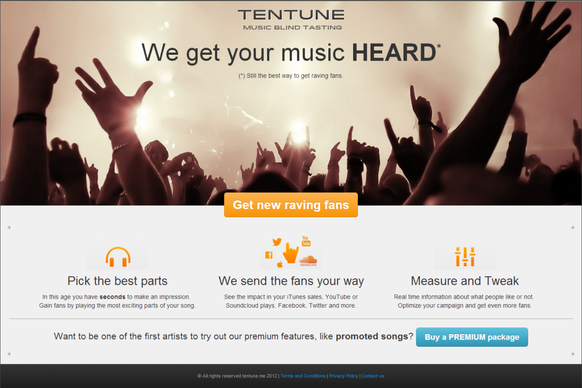 The final front page of Tentune, Paper Prototyping
