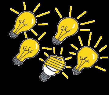 one modern lightbulb among classic lightbulbs
