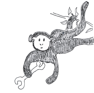 monkey holding a wrench