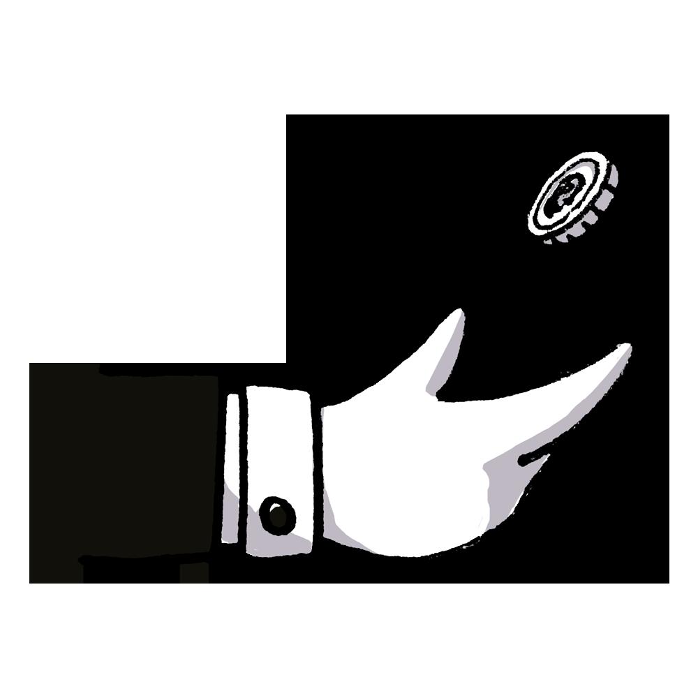 A hand flips a coin