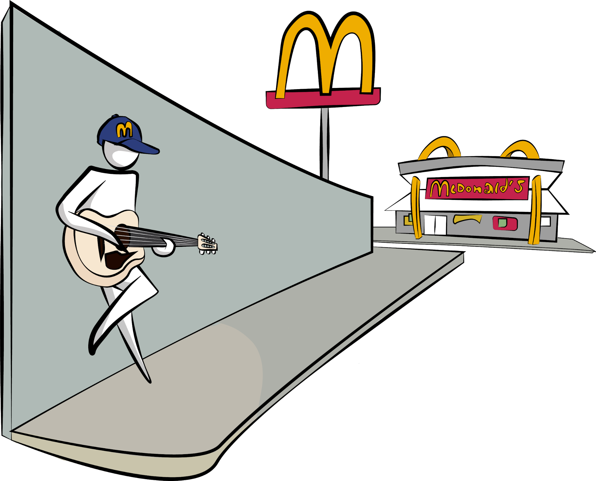 A person playing a guitar on a street corner across McDonald's