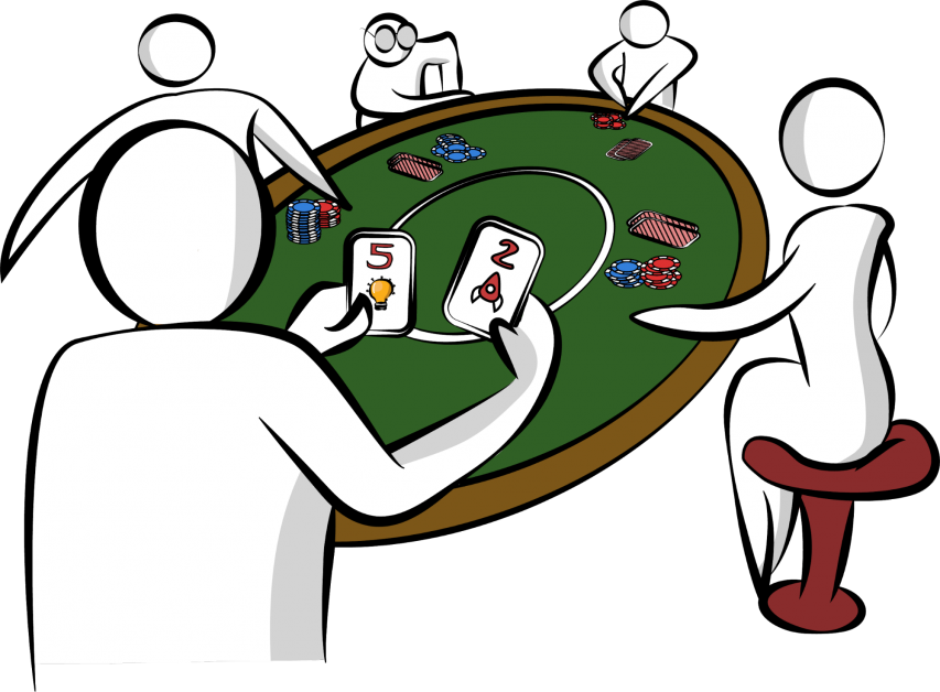 A group of people playing poker