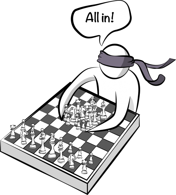 A player playing chess blindfolded