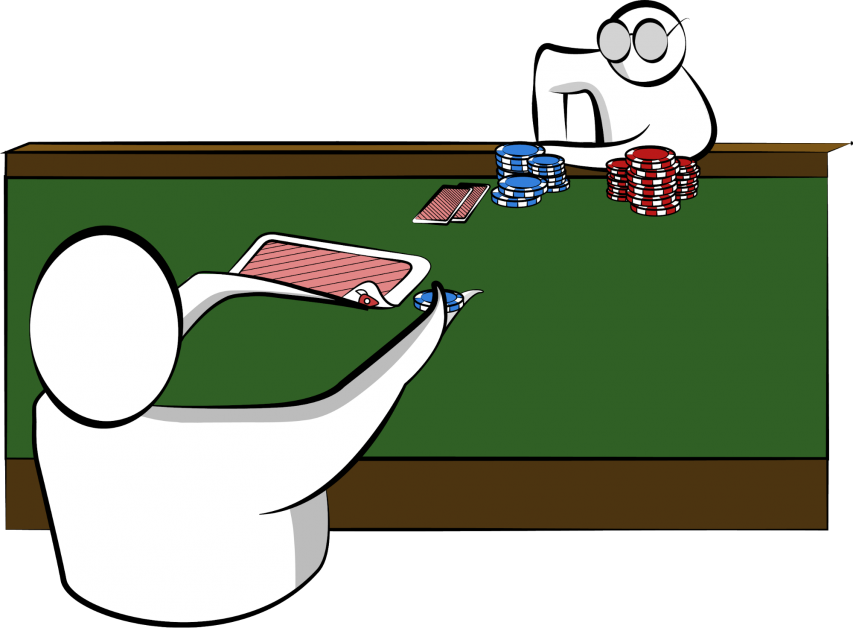 A poker player peeking at a flipped card