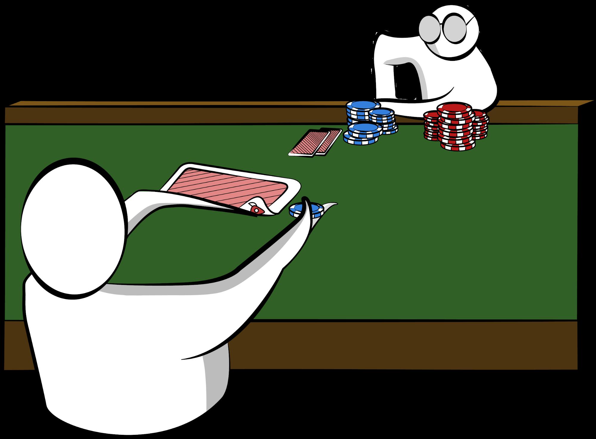 A poker player peeking at a flipped card