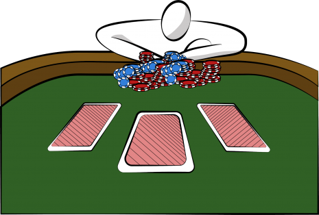 A player risking it all to bet in a poker game