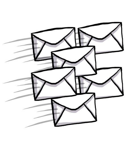 A number of mails flying